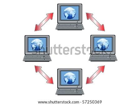 Global Computer Network Illustration in Vector - stock vector
