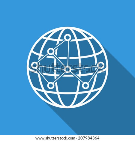 global connect icon with long shadow - stock vector