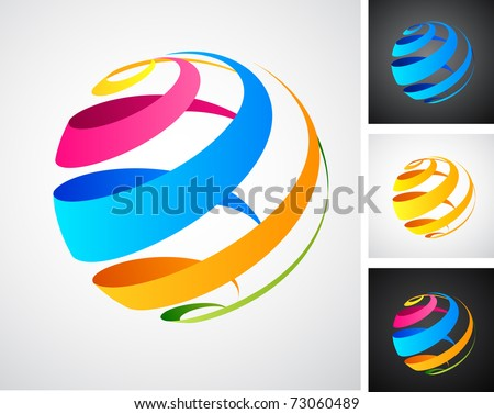 Global connection abstract icons - stock vector