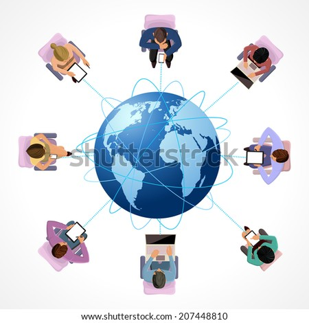 Global connection business network people concept in top view vector illustration - stock vector