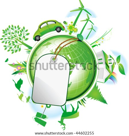 Global Conservation Concept. All elements and textures are individual objects. Vector illustration scale to any size. - stock vector