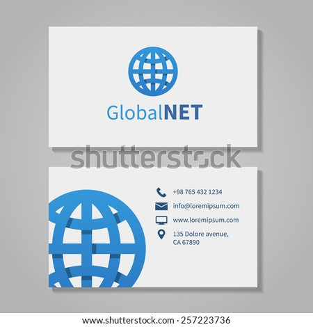 Global corporation business card phone number stock vector 257223736 global corporation business card phone number and address company logo and location and email colourmoves