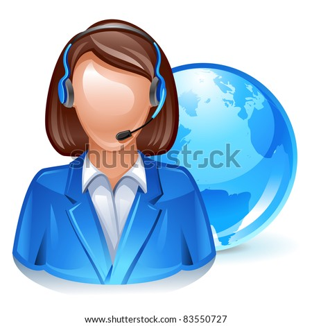 global customer service representative icon - stock vector