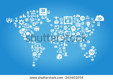 Global 3D printer business concept - world map with 3D printer and business icon