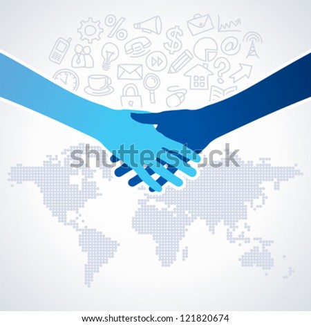 global deal with office icon - stock vector