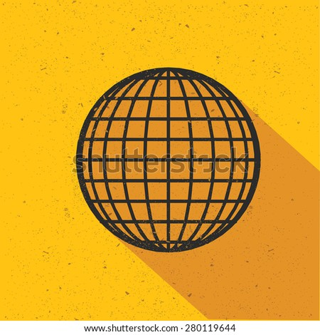 Global design on yellow background,retro yellow background,clean vector