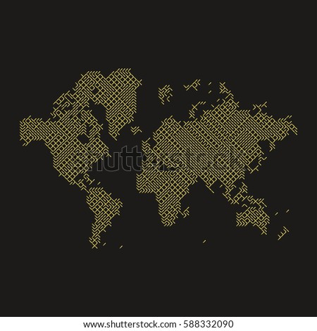 Global digital communications abstract world map stock vector global digital communications abstract world map flat vector illustration eps 10 gumiabroncs Gallery