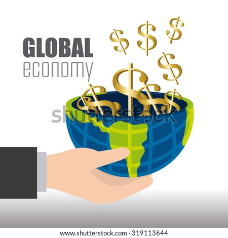Global economy, money and business design, vector illustration