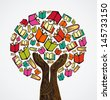 Global education concept tree hand books. Vector file layered for easy manipulation and custom coloring.   - stock vector