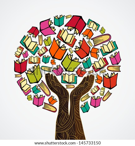 Global education concept tree hand books. Vector file layered for easy manipulation and custom coloring.