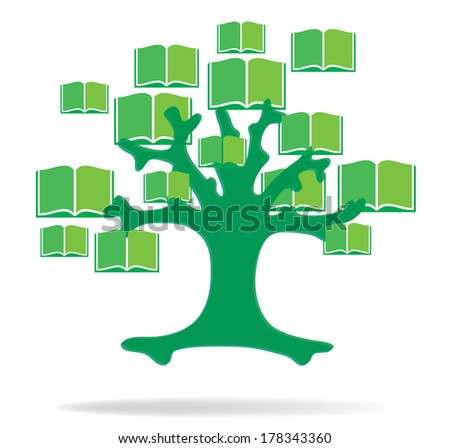 Global education concept tree made books. Vector file layered  - stock vector