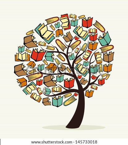 Global education concept tree made with books. Vector file layered for easy manipulation and custom coloring.
