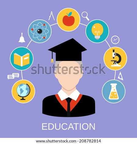 Global educational system mind forming template with atom book microscope professor icons composition vector illustration - stock vector