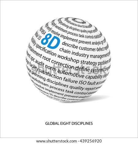 Global eight discipline word ball. White ball with main title 8D and filled by other words related with 8D method. Vector illustration - stock vector