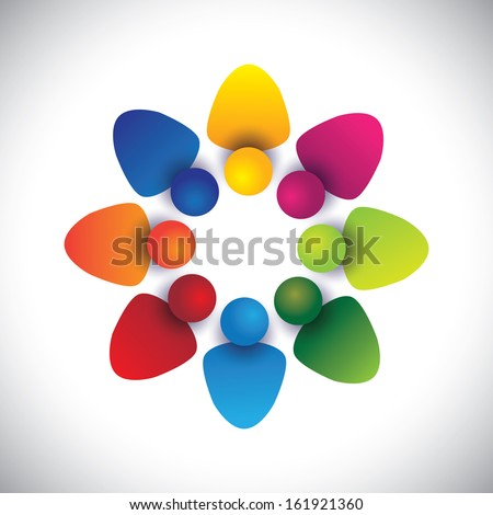 global employee concept with various members working together. The vector graphic can also represent employees unity, workers union, executives meeting, friendship, team work & team spirit - stock vector
