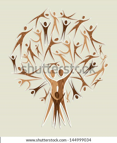 Global family human shapes conceptual tree. Vector file layered for easy manipulation and custom coloring. - stock vector