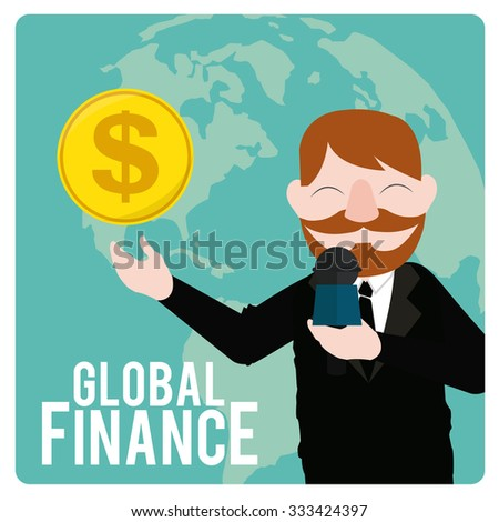 Global Finance Illustration over color background