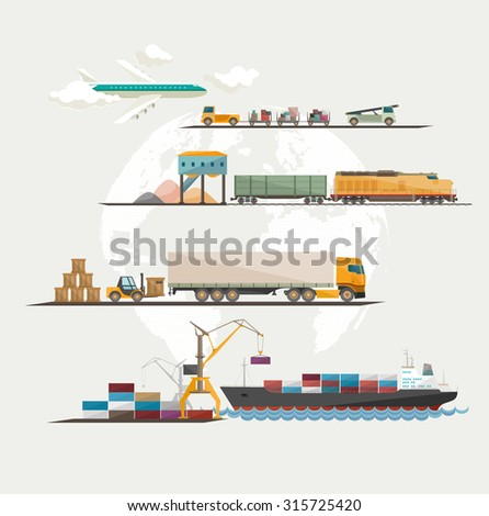Global freight transportation. Flat design. - stock vector