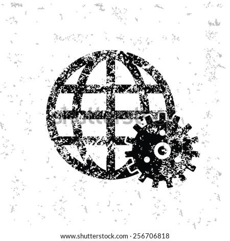 Global gear design on old paper,grunge vector - stock vector