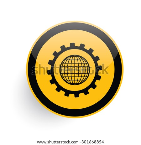 Global gear icon design on yellow button background,clean vector  - stock vector