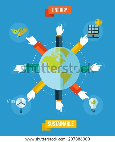 Global green environment and sustainable development illustration background. EPS10 vector file organized in layers for easy editing. - stock vector