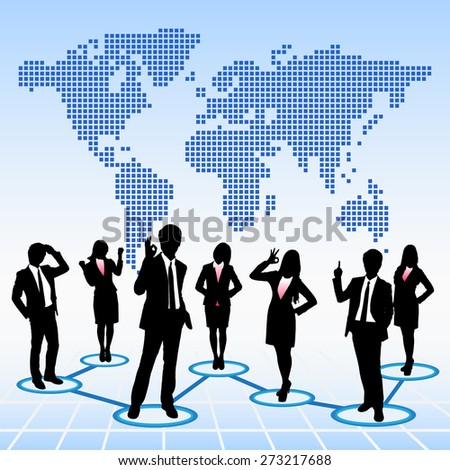 Global human resources concept business people work team with world map background - stock vector
