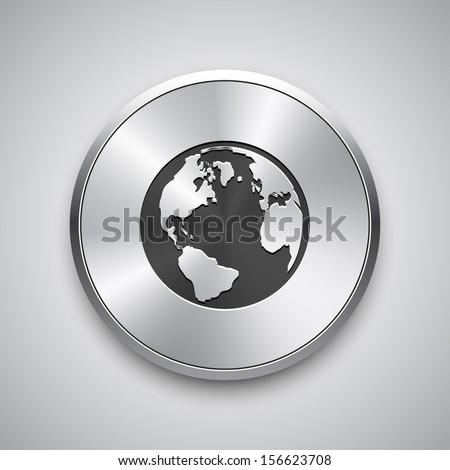 Global icon. Vector metal app button. - stock vector