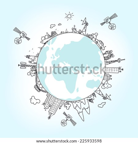 Global information network on the globe, satellites, antennas, satellite antennas, repeaters, vector illustration