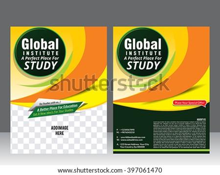 global institute flyer template & magazine vector illustration  - stock vector