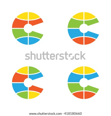 """Global Letter """"C"""" and keyhole logo in different colors - stock vector"""