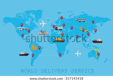 Global Logistic, shipping and service worldwide delivery world map concept - stock vector