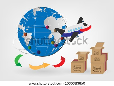 Global logistics cargo services vector illustrations international export concept. airplane delivering goods box express shipping e- commerce