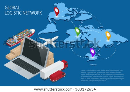 Global logistics. Global logistics network. Logistic isometric concept. Logistic Insurance. Ship cargo concept. Logistic international trade. Customs clearance. Documentary support international trade - stock vector