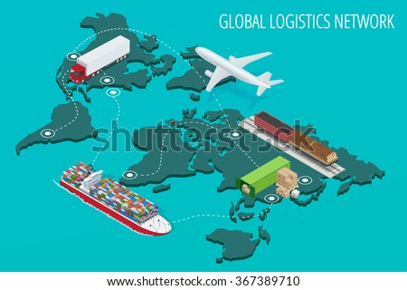 Global logistics network Flat 3d isometric vector illustration Set of air cargo trucking rail transportation maritime shipping On-time delivery Vehicles designed to carry large numbers of China cargo - stock vector
