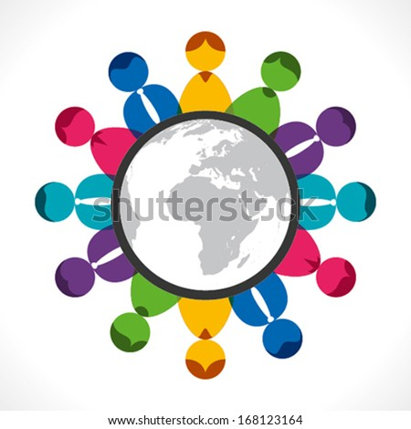 global meeting or business concept background vector - stock vector