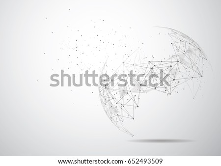 Drawing Lines In Mappoint : Global network connection world map point stock photo