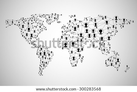 Global network mesh. Social communications background. Earth map. Vector illustration.  - stock vector
