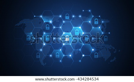 Global network security - stock vector