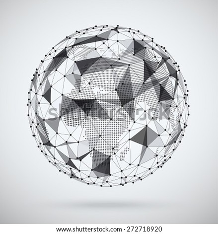 Global  network, sphere with a pixel map inside. Abstract geometric spherical shape. Globe design. - stock vector