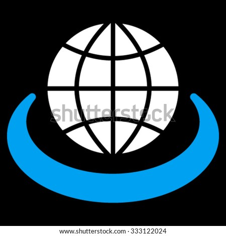 Global Network vector icon. Style is bicolor flat symbol, blue and white colors, rounded angles, black background. - stock vector