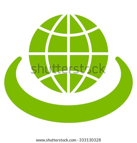 Global Network vector icon. Style is flat symbol, eco green color, rounded angles, white background. - stock vector