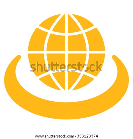 Global Network vector icon. Style is flat symbol, yellow color, rounded angles, white background. - stock vector