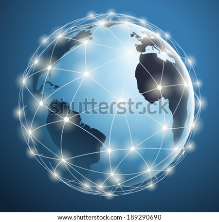 Global Networks, digital connections around the world map - stock vector