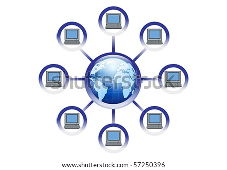 Global Online Computer Network Illustration in Vector - stock vector