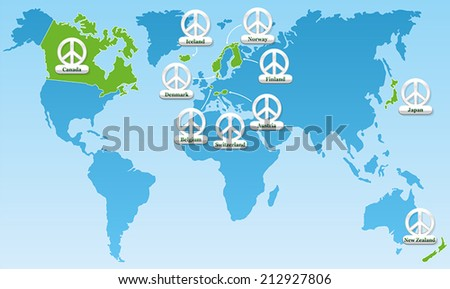 Global peace world map showing ten stock vector 212927806 shutterstock global peace world map showing the ten most peaceful countries worldwide since many years gumiabroncs Image collections