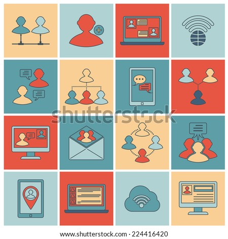 Global people mobile phone and tablets communication social connection outline icons set isolated vector illustration