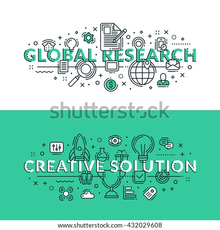 Global research and Creative Solution Concepts. Colored flat vector illustration in seagreen and white colors. - stock vector