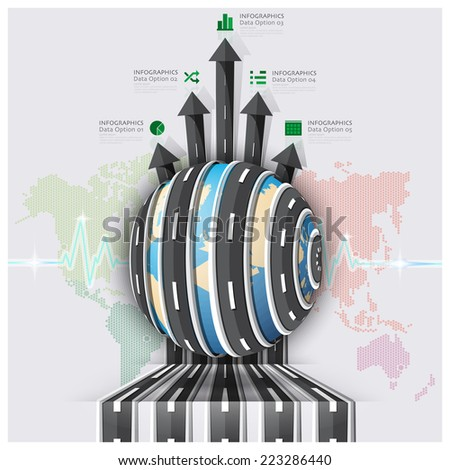 Global Road And Street For Travel And Journey Business Infographic Design Template - stock vector