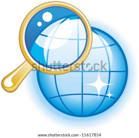 Global Search Glossy Vector Icon - stock vector