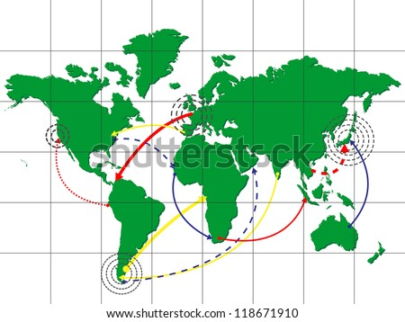 Global Shipping World Map, Vector EPS10 - stock vector